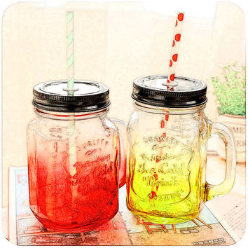 Cold drink water bottle cups Vintage Glass Mason Jar Cup Fruit Icecream Infusion Clear Gradients red blue green yellow CA