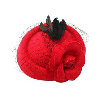 BUYITNOW Fascinators Hat Hair Clip with Veil Rose Flower for Women Girls Cocktail Party