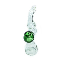 Handblown Clear Glass Bubbler Pipe With Green Accents - 7.5 Inches