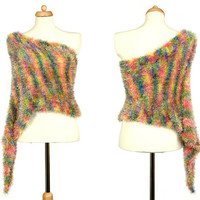 Pastel Rainbow Faux Fur Knitted Poncho / Scarf / Skirt - Multicolor Convertible Accessory