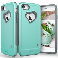DCK4S2 iPhone 8 Case, iPhone 7 Case, Vena [vLove][Heart-Shape | Dual Layer Protection] Hybrid Bumper Cover for Apple iPhone 8, iPhone 7 (4.7'-inch) (Teal/Gray)