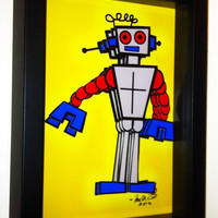 Gray Robot accented with Blue and Red 3D Pop Artwork  by PopsicArt