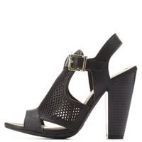 Black Bamboo Perforated Chunky Heel Sandals