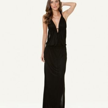 SOFIA SOLID BLACK CROSSED BACK LONG DRESS | V i X Paula Hermanny