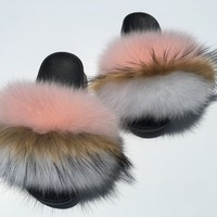 Rose pynk fox fur slides fox fur slippers