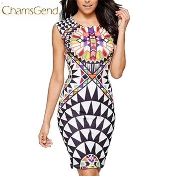 Newly Design 1pc Women's Traditional African Print Dashiki Bodycon Sleeveless Short Dress