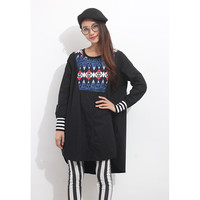 Totem Knit Mixed Long Shirt