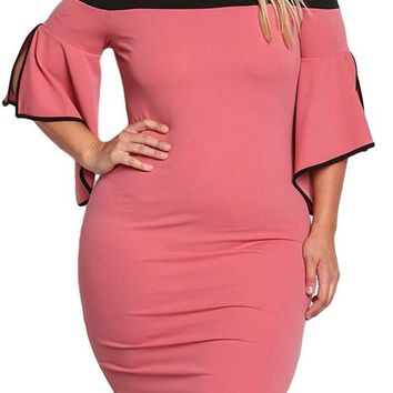 Pink Cold Shoulder Bell Sleeve Plus Size Bodycon Dress