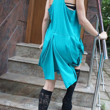 Turquoise Summer Dress / Extravagant Tunic Top