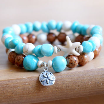 Ocean Gemstone Bracelet, Sea Starfish jewelry, for Beach, Blue Amazonite, Boho, Bohemian, Sterling silver Sand Dollar, stretch bracelet