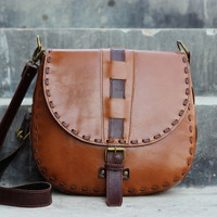 Handmade Leather Purse - Caramel Brown Hip Bag Leather Satchel Travel Bag Shoulder Bag / Hand Bag - Full Grain Cowhide Leather Ladies Purse