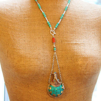 Tibetan Turquoise snuff bottle pendant necklace feature 6 Words Mantra/spiritual/Bohemian/ethnic/authentic/Buddhist/Free people style/OOAK