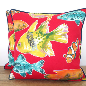 red outdoor pillow cover 20x20 island decor, beach house cushion tropical fish, red and turquoise bench cushion tropical resort