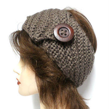 Women's brown crochet large brown button headband, ear warmer, crochet button headband, gift