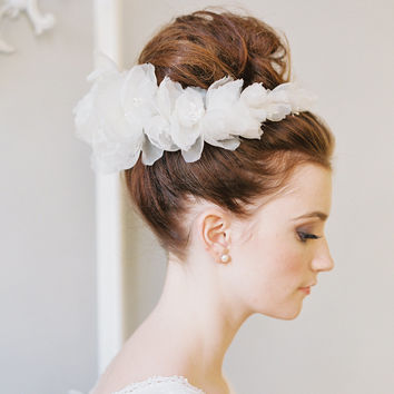 Silk flower Grecian bridal crown - Style A thing of beauty no. 1959