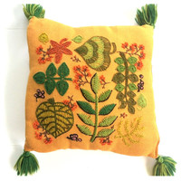 1960s Crewel Pillow with Tassels Handmade Orange and Green