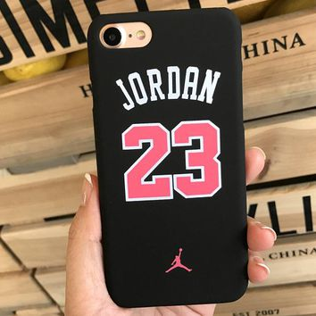 AJ AIR JORDAN Tide brand iPhone6S matte ultra-thin couple phone case Black