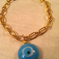 Blue EVIL EYE GOLD Charm Bracelet Kabbalah, Middle Eastern Handmade Jewelry
