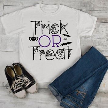 Kids Funny Halloween T Shirt Tick Or Treat Graphic Tee Cool Matching Shirts Toddler Boy's Girl's