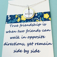 Compass Necklace, No Matter Where Necklace ,Beat Fried s Necklace  Best Friends Quote, Friends Necklace