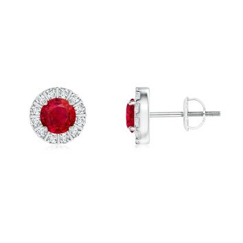 Round Ruby and Diamond Halo Vintage Earrings
