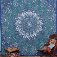 Kayso Kaleidoscopic Star Tapestry Intricate Floral Design Indian Bedspread Labhanshi