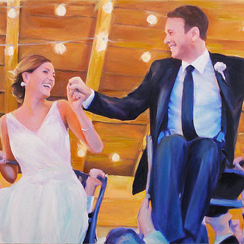 1st Anniversary Gift - Custom Wedding Portrait on Canvas from Your Photo - Hand Painted & Stretched