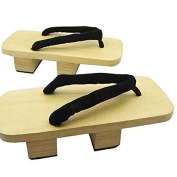 SSJ:Japanese Traditional Shoes Geta [ Mens 9-10 Size ] Wooden Clogs Sandals (10, White-Wood)