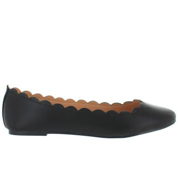 Wanted Sydney - Black Scallop Edge Ballet Flat