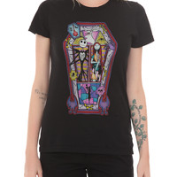 The Nightmare Before Christmas Jack And Sally Stained Glass Girls T-Shirt