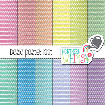 Knit Digital Paper – pastel stripe knit texture scrapbook paper in pink, lavender, mint, peach & blue - printable paper - commercial use