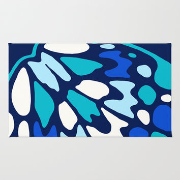 Butterfly Blue Teal Combo Area & Throw Rug by Eileen Paulino