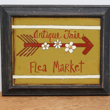 Antique Fair Flea Market Sign Hand Painted Large Frame Country Home Decor Distressed Frame Spring Decor Black Wood Distressed Frame