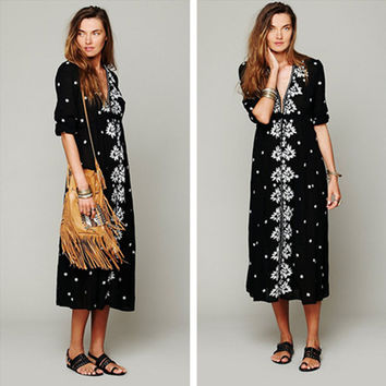 """Free People"" Fashion Boho Embroidery Flower V-Neck Middle Sleeve Maxi Dress"