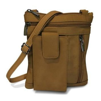 On The Go AFONiE Genuine Leather Messenger Bag-Tan Color