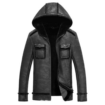 Winter men genuine leather coats sheepskin shearling fur pilot motorcycle jackets