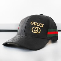 GUCCI New fashion more letter print embroidery letter stripe hat cap Black