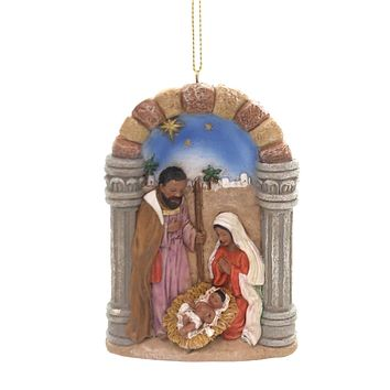 Holiday Ornaments BLACK NATIVITY Mary Joseph Jesus Christmas E0201 Red