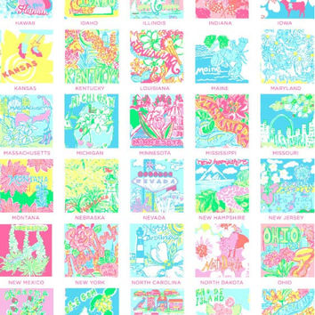 Lily Pulitzer 8.5 x 11 Sheet Vinyl of the States