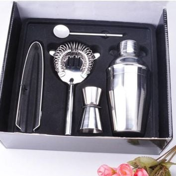 5pcs/Set 350ml Stainless Steel Cocktail Shaker Mixer Drink Hawthorn Strainer Ice Tongs Mixing Spoon Measure Cup Bar Tool Kit