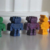 Robot Crayons, Robot Party Favors, Crayon Party, Rainbow Party, Robot Party Supplies, Preschool, Robot Birthday, Crayon Party Favors,Gift