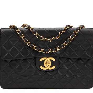 CHANEL BLACK QUILTED LAMBSKIN VINTAGE MAXI JUMBO XL FLAP BAG HB908