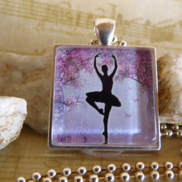 Ballerina  Necklace Silhouette  Dancer ( pink) Gift For Kids  ballerina jewelry  Gift For Dancer ballet necklace dance recital gift idea