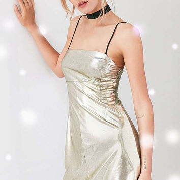 Silence + Noise Drita Metallic Shine Mini Dress - Urban Outfitters