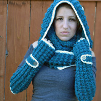Teal and cream winter hooded cowl, crochet snood, winter crochet infinity scarf,
