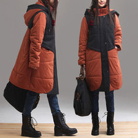 2colors  Hooded Loose  color matching  cotton  cloth coat plus size  long thickening winter  coat , aolo-458