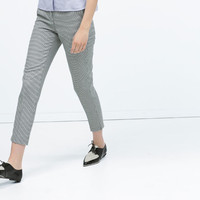 Belted mini-check chinos