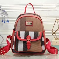Burberry Women Casual School Bag Cowhide Leather Backpack-1