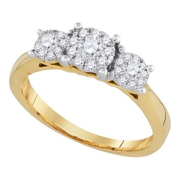 14k Yellow Gold Flower Cluster Diamond Womens Bridal Wedding Engagement Ring 1/2 Cttw
