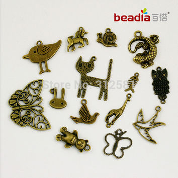Free Shipping Floating Locket Charms 130Pcs Mixed Antique Bronze Animals Charm For pendants for jewelry making ZH-BJI010